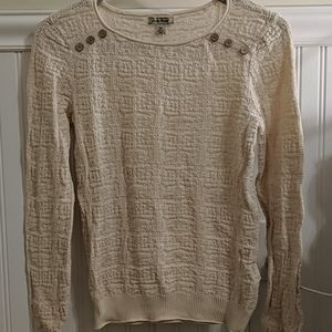 Cream Sweater with Shoulder Buttons